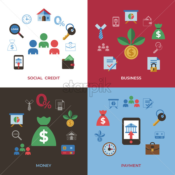 Social score credit and banking payment icons infographics, digital vector - starpik