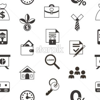 Social score credit and banking payment icons infographics, digital vector seamless pattern - starpik