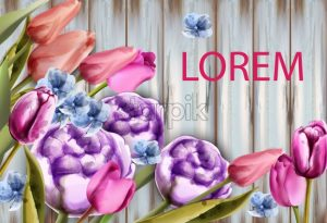 Spring bouquet on wooden background Vector. Tulips and roses watercolor. Spring summer card - starpik