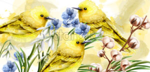 Spring card watercolor Vector with cute birds and flowers. Golden small birds. Vintage Color stains splash on background - starpik