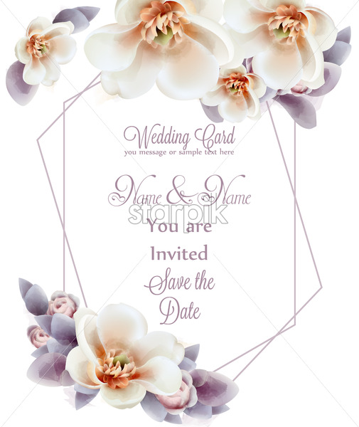 Spring flowers wedding invitation watercolor Vector. Romantic floral greeting card decoration. Women day, Valentines Day, sales and other event - starpik