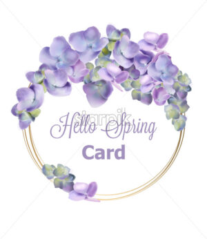 Spring hydrangea wreath Vector watercolor. Romantic floral invitation or greeting card decoration. Women day, Valentines Day, sales and other event - starpik