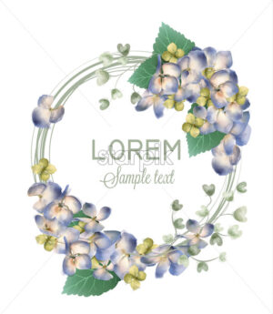 Spring hydrangea wreath Vector watercolor. Romantic floral invitation or greeting card decoration. Women day, Valentines Day, sales and other events with little white flower - starpik