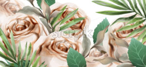 Spring roses watercolor Vector. Beautiful floral background template - starpik
