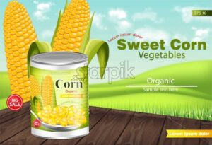 Sweet corn Vector realistic. Metal tin. Product package mock up. Label design. 3d detailed illustration - starpik