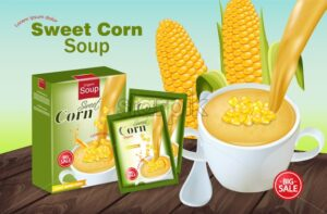 Sweet corn soup Vector realistic. Product placement mock up. 3d illustration - starpik