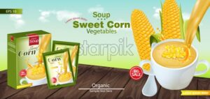 Sweet corn soup Vector realistic. Product placement mock up. Green fields background. 3d illustration - starpik