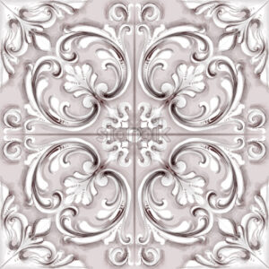 Tile or mosaic ornament Vector watercolor. Medalion rosette style decor template - starpik