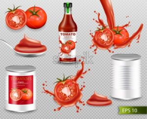 Tomatoes Vector realistic set with splash, ketchup bottle, canned metallic tin. Label design template. 3d detailed illustration - starpik