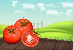 Tomatoes on wooden table Vector realistic. Green eco background. Detailed 3d banner template for label, icon, product placement - starpik