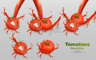 Tomatoes splash isolated Vector realistic. Detailed 3d illustration template for label, icon, product placement - starpik