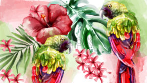 Tropic card watercolor Vector with colorful parrot bird and flower - starpik