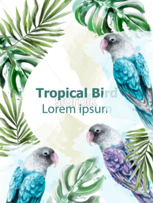 Tropic card watercolor Vector with colorful parrot birds and palm leaves - starpik