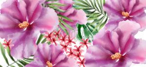 Tropic flowers Vector watercolor. Beautiful exotic background decor - starpik