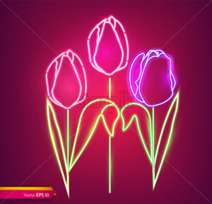 Tulip flowers neon light Vector. Vintage board. Glowing bouquet. Shiny Neon Light Poster, Flyer, Banner, Postcard, Invitation. Vector 3d Illustration - starpik