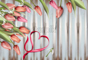 Tulips flowers on wooden texture Vector watercolor. Heart bow. Spring Summer background - starpik
