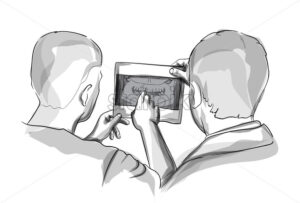 Two doctors analyzing Xray diagram Vector sketch storyboard - starpik