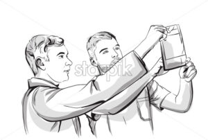 Two doctors analyzing an X-ray Vector sketch storyboard. Detailed character illustration - starpik