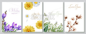 Vector Vertical wedding invitation card set with crocus, daisy, cotton flowers and snowdrops. Save the date botany design for ceremony, cosmetics brochure, beauty spring template - starpik