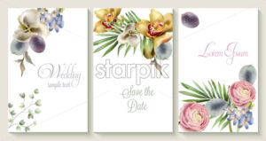 Vector Vertical wedding invitation card set with orchid flowers. Save the date botany design for wedding ceremony. Cosmetics brochure. beauty salon spring template - starpik