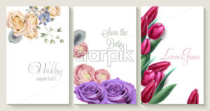 Vector Vertical wedding invitation card set with roses and tulip flowers. Save the date botany design for wedding ceremony. Cosmetics brochure. beauty salon spring template - starpik