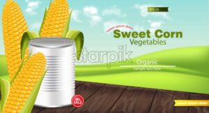 Vector realistic Metal tin. Product package mock up. Sweet corn background. 3d detailed illustration - starpik