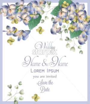 Wedding card with spring hydrangea flowers Vector watercolor. Romantic floral invitation or greeting card decoration. Women day, Valentines Day, sales and other events with little white flower - starpik