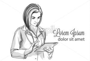 Woman doctor writing notes Vector sketch storyboard. Detailed character illustration - starpik