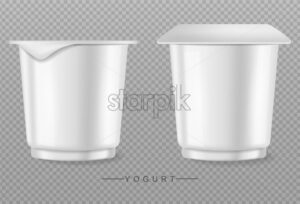 Yogurt isolated on transparent Vector realistic. Product placement empty container - starpik