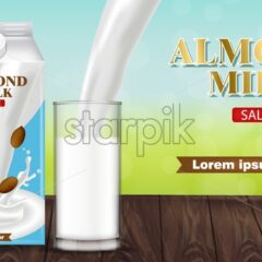 Almond milk pouring in a glass vector realistic. Product placement advertise. Splash milk flow. Label template design. Natural healthy vegan product - starpik