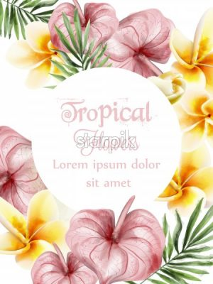 Anthurium and plumeria tropic flowers Vector watercolor card. Summer time paradise card. Wedding ceremony invitation. Exotic festival background - starpik