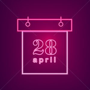 April neon calendar Vector. Easter Calendar Neon Sign. Seasonal Holiday banner, poster, icon, info graphic - starpik