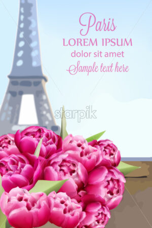 Balloons and peony flowers in Paris Vector. Romantic card spring time at Eiffel Tower - starpik