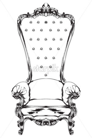 Baroque armchair Vector. Royal style decotations. Victorian ornaments engraved. Imperial furniture decor illustrations line art - starpik