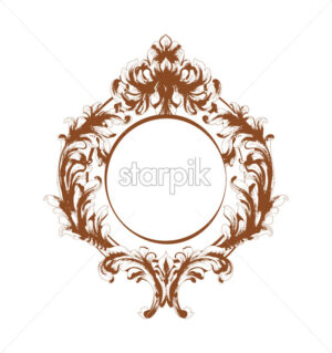 Baroque mirror frame Vector. Vintage template design. Card layout - starpik