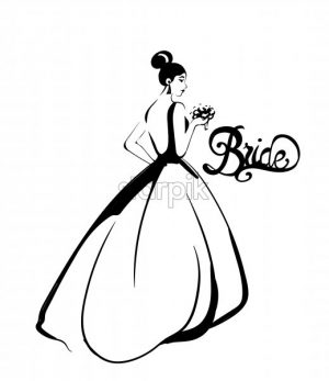 Bride silhouette Vector line art. Beautiful long dress . Template for design card - starpik