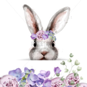 Bunny rabbit with flowers Vector watercolor. Cute spring card. Easter holiday greeting - starpik
