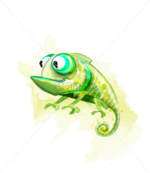 Chameleon funny cartoon character Vector. Cute reptile with big eyes - starpik