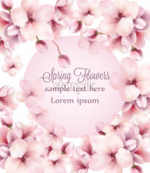 Cherry Flowers watercolor frame background Vector. Spring blooming floral decor - starpik