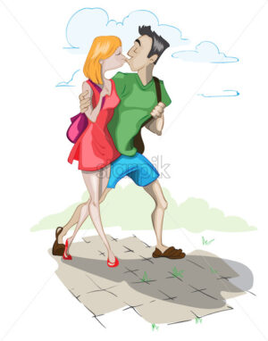 Couple kissing Vector cartoon characters illustration - starpik