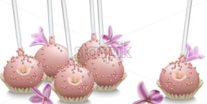 Delicious sweets. Summer wedding confectionary bakery treats Vector illustration - starpik