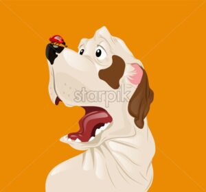 Dog scared of a ladybug Vector. Funny cartoon character - starpik