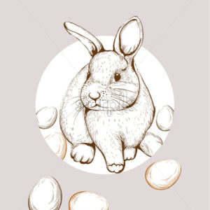 Easter Bunny rabbit Vector lineart. Cute spring card. Easter holiday greeting - starpik