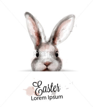 Easter Bunny rabbit Vector watercolor. Cute spring card. Easter holiday greeting - starpik