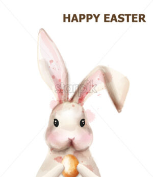 Easter bunny rabbit Vector. Cute pet holiday card isolated on white - starpik