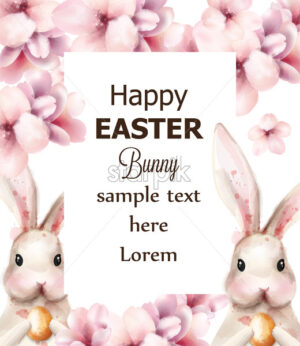 Easter bunny rabbit and cherry flowers Vector. Cute pet holiday card on white background - starpik