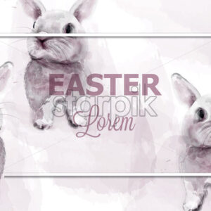 Easter bunny rabbits Vector watercolor. Cute animals card holiday. Pink background - starpik