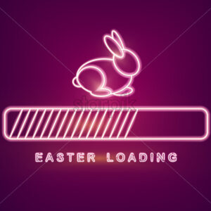 Easter card Vector with neon rabbit loading symbol. Spring holiday - starpik