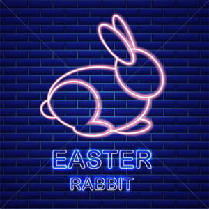 Easter card Vector with neon rabbit. Spring holidays. blue background - starpik