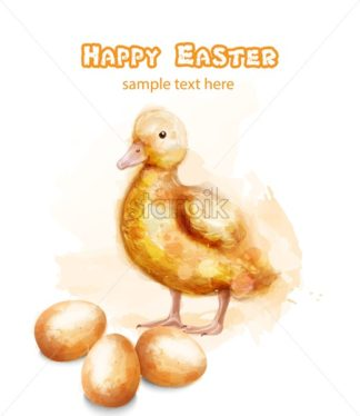 Easter ducky Vector watercolor card. Happy Easter greetings with bud and egg - starpik